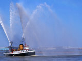 A Fireboat on the Mighty Mississippi River, Louisiana, USA Photographic Print by John Elk III