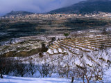 Snow Covered Fields and Village in the Qadisha Valley, Bcharre, Lebanon Photographic Print by Mark Daffey