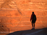 Silhouette of Hiker in Padre Bay, Lake Powell, Utah, USA Photographic Print by Cheyenne Rouse