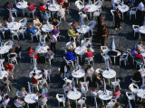 Overhead of People Relaxing in Outdoor Cafe, Old Town Square, Prague, Czech Republic Photographic Print by Brent Winebrenner