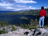 Hiker at Viewpoint Overlooking Emerald Bay, Lake Tahoe, California, USA Photographic Print by Cheyenne Rouse