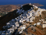 Whitewashed Houses on Hilltop Above Livadi Harbour, Hora, Greece Photographic Print by Mark Daffey