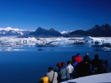 People on Tour Boat Looking Over Columbia Glacier, Prince William Sound, USA Photographic Print by Brent Winebrenner