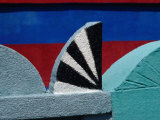 Detail of Stucco Ornament on a Painted Tomb in Sacapulae Cemetery, Quiche, Guatemala Photographic Print by Jeffrey Becom