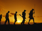 Silhouette of Laikipia Masai Guides and Tourists on a Bush Safari Photographic Print by Richard Nowitz