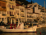 19th Century Buildings and Fishing Vessels in Gythio Harbour, Gythio, Peloponnese, Greece Photographic Print by Glenn Beanland