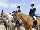 Group of Jockeys Sitting on Horses Lámina fotográfica