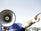 Man Talking into a Megaphone And Pointing Forward Photographic Print