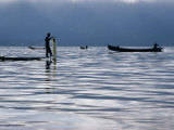 Fisherman on Boat with Net on Lake Inle Inle Lake, Shan State, Myanmar (Burma) Photographic Print by Glenn Beanland