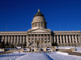 Snow in Front of State Capitol Building, Salt Lake City, Utah, USA Photographic Print by Stephen Saks