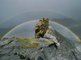 A Rainbow Accents This Bizarre Lava Formation at Ol Doinyo Lengai Photographic Print by Peter Carsten
