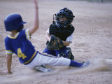 Two Children Playing Baseball Photographic Print