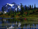 Man in Canoe, Picture Lake, WA Photographic Print by David Carriere
