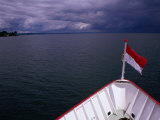 Flag at Front of Boat on Lake Constance (Bodensee), Baden-Wurttemberg, Germany Photographic Print by Johnson Dennis