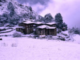 Snow Covering Houses in Village, Laya, Bhutan Photographic Print by Nicholas Reuss