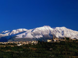 Town with Snow Covered Mountains in Background Tocco Da Casuaria, Abruzzo, Italy Photographic Print by John Hay
