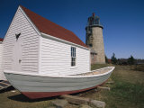 A Boat, Boathouse and Lighthouse on Monhegan Island Photographic Print by Clarita Berger