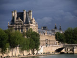 Fishermen on Banks of River Seine with the Louvre in Background, Paris, Ile-De-France, France Photographic Print by Diana Mayfield