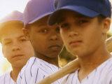 Portrait of Three Boys in Full Baseball Uniforms Lámina fotográfica