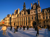 Ice-Skating in Front of Paris Hotel De Ville (City Hall), Paris, France Photographic Print by Martin Moos