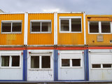 Brightly Colored, Double Decker Construction Trailers in Berlin Photographie par Jim Webb