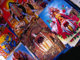 Paintings of Hindu Deities for Sale at Market Stall Outside Kalighat Hindu Temple, Kolkata, India Photographic Print by Richard I'Anson