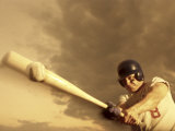 Low Angle View of a Baseball Player Swinging a Baseball Bat Photographic Print