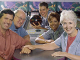 Portrait of a Family at a Bowling Alley Photographic Print
