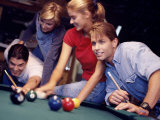 Two Young Couples Playing Pool Photographic Print