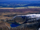 Aerial of Upper Tama Volcanic Lake, Tongariro National Park, Manawatu-Wanganui, New Zealand Photographic Print by David Wall