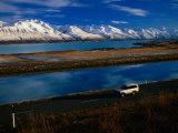 Ben Ohau Ra Mountain Range along Lake Pukaki, Canterbury, New Zealand Photographic Print by David Wall