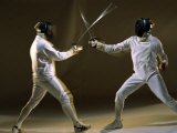 Side Profile of Two People Fencing Photographic Print