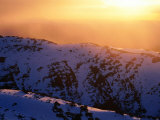 Winter Sunset with Mist from Mt. Carruthers, Kosciuszko National Park, New South Wales, Australia Photographic Print by Grant Dixon