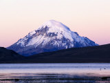 Volcan Sajama Above Lago Chungara at Sunset, Lauca National Park, Chile Photographic Print by Woods Wheatcroft