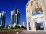 Twin Towers at East End of the Corniche, Doha, Ad Dawhah, Qatar Photographic Print by Mark Daffey