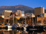Waterfront with Mt. Wellington Behind, Hobart, Tasmania, Australia Photographic Print by Grant Dixon