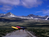Kayakers Walking to Ula River, Rondane National Park, Oppland, Norway Photographic Print by Anders Blomqvist