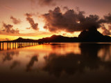 Mt. Otemanu and Lagoon at Sunset, French Polynesia Photographic Print by Peter Hendrie