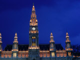 Rathaus (Town Hall) at Dusk, Innere Stadt, Vienna, Austria Photographic Print by Richard Nebesky