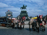 Horse and Carriage Passing Statue of King John of Saxony Dresden, Saxony, Germany Photographic Print by John Borthwick
