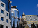 "Gothic Stephansdom (St Stephen's Cathedral) and Hans Hollein's ""Haas Haus,"" Vienna, Austria Photographic Print by Diana Mayfield"