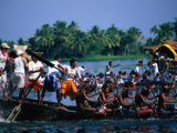 Men in Annual Nehru Cup Snake Boat Race, Alappuzha, India Photographic Print by Paul Beinssen