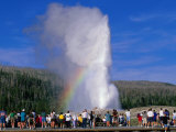 Tourists Watching Old Faithful Geyser, Yellowstone National Park, USA Photographic Print by John Elk III