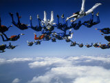 Skydivers Getting into Formation Photographic Print