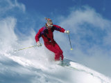 Skier in Red with Clouds and Snow Photographic Print