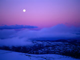 Moonrise and Sunset on Main Range in Winter, Kosciuszko National Park, New South Wales, Australia Photographic Print by Grant Dixon