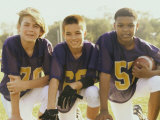 Portrait of Three Boys Holding a Football Photographic Print
