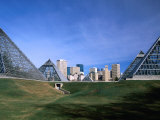 Muttart Conservatory with City Skyline in Distance, Edmonton, Alberta, Canada Photographic Print by Stephen Saks