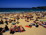 Sunbathers and Swimmers at Manly Beach, Sydney, Australia Photographic Print by Paul Beinssen