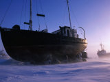 Fishing Boats Beached on Shore of Frobisher Bay for Winter, Iqaluit, Baffin Island, Nunavut, Canada Photographic Print by Grant Dixon